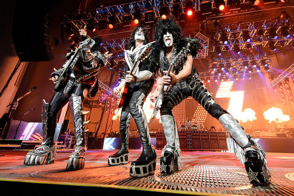 Photos of the glam rock band KISS performing live on 'The